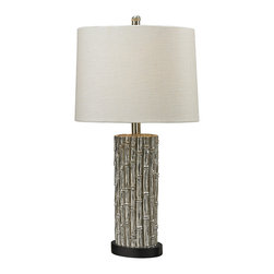 Sterling - Sterling Bamboo Oval Table Lamp, Silver - Dimond Lighting 112-1118 Table Lamp