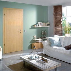 "Laminated Doors - ""Acacia"" - ""Acacia"" is a warm natural appearance laminate with visible grains resembling acacia wood.  Laminate doors are a terrific alternative to real wood or wood veneer which are easy to clean, scratch resistant, durable and best of all affordable.  All Bartels laminated door products are provided as complete door systems including jamb and casing, door panel and all necessary hardware.  Laminated panels may also be ordered as  pocket doors or slabs only for use with sliding systems and Modern Barn Door Hardware."