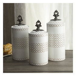 "Jay Companies - American Atelier White Canister Set - Airtight, and space efficient, the White Ceramic Canister Set make it easy to keep dry goods fresh and your kitchen organized. Distinctive in appeal and style, our charming canisters are crafted with the finest ceramic and metal. This set from America Aterlier is ideal for holding kitchen staples such as grains, sugar, flour and tea. Its unique design and elegant metal finial knobs add a traditional decorative touch.             * Set of 3 * Dimensions: Large: 12.41"" tall, Medium: 11.3"" tall, Small: 10.4"" tall. 4.5"" in diameter * Capacity: Large: 67 oz., Medium: 59 oz., Small: 51 oz. * Care: Hand wash * Includes rubber gasket on top to ensure freshness"