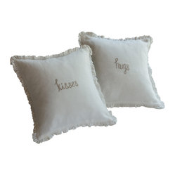 Kisses Natural Embroidered Toss Pillow