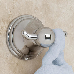 Valentine Double Robe Hook - Hang your robes in style with this double robe hook from the Valentine Collection, featuring a spherical detail and circular bracket.