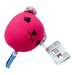 Polka dot club - Baby rattle balls, Fuchsia Pink - These rattle balls are perfect for tossing, kicking, hugging, rolling, grabbing- for the first time or the millionth. Made in cotton fabric - unique embroidered wool eyes and nose - polyfil stuffing with a rattle neatly tucked inside. Each rattle fabric loop is unique.