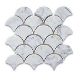 "Stone Center Corp - Carrara Marble Grand Fan Shaped Mosaic Tile Honed - Carrara White Marble big fish scale fan shaped pieces mounted on 12""x12"" sturdy mesh tile sheet."