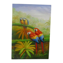 Golden Lotus - Oil Paint Canvas Art 4 Parrots Wall Decor - Oil painting on canvas.  ( ship in roll, no frame )