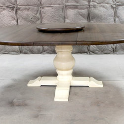 round extension dining table with tuscany pedestal base - Made by www.ecustomfinishes.com