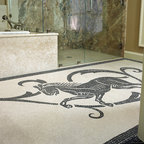 Custom Horse Mosaic - Custom Horse natural stone hand cut mosaic tile rug in Botticino and Nero Marquina.