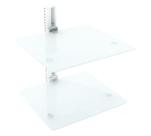 Sonax - Sonax Double Component Wall Shelf in White - Sonax - Audio Racks - C812SCM - Elevate your A/V components with the Wall Shelf by Sonax. With two adjustable Frost White tempered glass shelves and a convenient cable management system this convenient wall shelf creates a sleek and clean look that is the perfect compliment to any wall mounted TV. Modernize your living space with this contemporary design by Sonax.