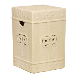 Kathy Kuo Home - Square Asian Garden Stool End Table- Antique White Champagne Glaze - Traditionally used in China as tea tables- these garden stools make a perfect addition to your living space as side tables, or clustered together to be used as a coffee table.  Glazes are triple fired for added luster and shine.  With a hand made product, glaze variations of up to 10% is to be expected.