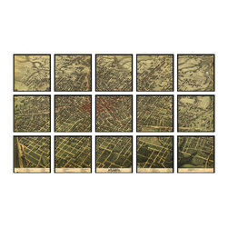 """Christopher David - Paris Artifact Map, 15-Panel Mural - Material: Wood or metal, glass Finish: Matte black wood or industrial grey metal Dimensions: 105""""W X 63""""H (approximate size of entire mural, without frame spacing)"""