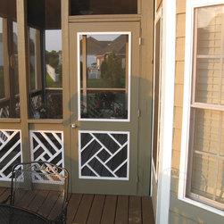 Legacy Chippendale Storm/Sceen Doors - Glouchester Grill Solid Mahogany Storm/Screen Door - www.legacychippendaledoors.com