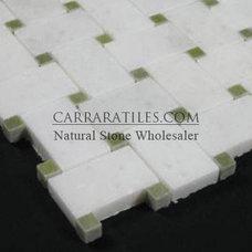 Statuary Marble Italian White Statuario Basketweave Mosaic Tile with Green Dots