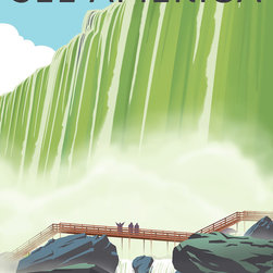 See America, Niagara Falls State Park Print - See America poster celebrating the Niagara Falls State Park in New York. Celebrating one of the most impressive natural wonders of the world. Illustration by Steven Thomas in 2013.