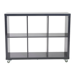 Euro Style - Sabra 2X3 Storage Unit - Gray - The comforting symmetry and excellent construction is only half the story. All of these shelving units include industrial casters so that they can be easily moved. As in room dividers. Work station companions. And more. If you prefer a more permanent installation, the casters can be removed and included feet installed. Voila.