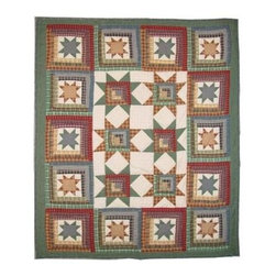 Patch Magic - Cottage Star Throw - 50 in. W x 60 in. L. 100% Cotton. Handmade, hand quilted. Machine washable. Line or flat dry only