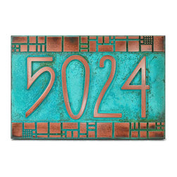 "The Batchelder Tile Address Plaque 12"" x 8"" in Copper Verdi - Our Batchelder Tile Address Plaque shown in raised copper verdi finish. Size is 12"" W x 8"" H."