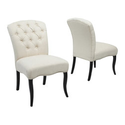 Great Deal Furniture - Jaelynn Fabric Dining Chairs (Set of 2), Linen - The Jaelynn Dining Chair is a perfect fit for any dining space in your home. The button tufted accent is an added element of design that enhances the elegance of this chair. The linen colored fabric and round curved backrest also make this an inviting piece for any living room or bedroom.