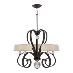 Quoizel - Quoizel UPMM5005WT Madison Manor Transitional Chandelier - Gentle curves and optic glass accents harmoniously tie in the symmetry of this beautiful collection. The western bronze finish highlights the glass accents and the light beige fabric shades, complete with diffusers, balance the overall design.