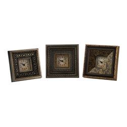 iMax - iMax Regency 3 x 3 Framed Clocks X-3-67012 - Set of three traditionally elegant 3x3 framed clocks.