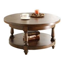 Riverside Furniture - Riverside Furniture Newburgh Round Cocktail Table in Antique Ginger - Riverside Furniture - Coffee Tables - 37403 - Riverside's products are designed and constructed for use in the home and are generally not intended for rental commercial institutional or other applications not considered to be household usage.