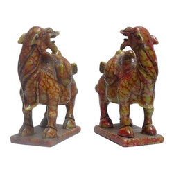 Golden Lotus - Pair Chinese Oriental Jade Stone Carved Camel Figures - This is a pair of simple carved camel figure with nice green orange jade stone color as an accent.