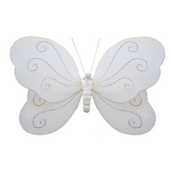 Bugs-n-Blooms - Hanging Butterfly Small White Swirls Nylon Butterflies Wall Ceiling Decorations - Hanging Swirls Butterfly - Beautiful nylon hanging kids wall or ceiling decor, baby decoration, childrens decorations. Ideal for Baby Nursery Kids Bedroom Girls Room. This nylon butterfly has pretty swirls of glitter to give it that special shine. This pretty butterfly decoration is made with a soft bendable wire frame. Beautiful 3D hanging nursery, bedroom, birthday party, baby shower or wedding decor. Includes a piece of fishing line and hoop for easy hanging to any wall or ceiling (removable if desired). Sold individually. Visit our store for more great items. Additional sizes are available in various colors, please see store for details. Please visit our store on 'How To Hang' for tips and suggestions. Please note: Sizes are approximate and are handmade and variances may occur. Price is per each butterfly (1) piece