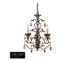 Elk Lighting - Elk Lighting 3343/3 3 Light Chandelier w/ Amber Crystal - 3 Light Chandelier w/ Amber Crystal belongs to Rochelle Collection by Elk Lighting Rochelle Is A Magnificent Collection Featuring Elegant Amber Crystal Highlights, Scrolling Weathered Mahogany Finished Ironwork And Intricate Castings. Incorporating Elements Of Renaissance Design With Graceful Proportions, Rochelle Reflects Regal Design And Classic Appeal. Chandelier (1)