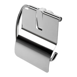 Geesa - Chrome Toilet Roll Holder With Cover - Toilet roll holder with cover. Chrome plated brass. High-end toilet paper holder, made in extremely high quality brass. Toilet roll holder finished in chrome. Designed and built in Netherlands by Geesa. Part of the Geesa Pulse collection.