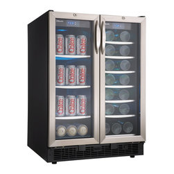 "Danby - 5.0 Cu.Ft  27 Bottle Wine Cooler Beverage Center - 5.0 cu. ft. beverage center holds up to 60 beverage cans and 27 bottles of wine. French door design with two independently controlled temperature zones for wine and beverages. Temperature range 39 - 64 degrees (per compartment). Designed for built-in application. Precise digital thermostat with LED display allows the temperature to be accurately set and monitored through the door. Our frost free, fan forced cooling system combined with the digital thermostat provides a more consistent internal temperature than an automatic defrost system. ""Cool blue"" – true LED track lighting system beautifully showcases the wine without the heat created by an incandescent bulb. 7 sliding black wire shelves with stainless steel trim on wine cooler. 4 tempered glass shelves with stainless steel trim on beverage center. Semi-flush discreet cupped door handle doesn't snag clothing. Integrated door locks – helps protect contents from children. Tinted tempered glass door helps protect wine from harmful UV rays. LED Display. Unit dimensions 23 13/16 x 24 13/16 x 34 7/8"