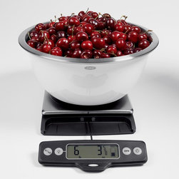 Food Scale with Pull-Out Display - As a baker, weighing your ingredients is a no-brainer. You can make better measurements that produce better results. This Oxo digital scale allows you to switch from ounces to grams and zero-out the balance between measurements.