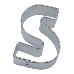 "RM - Letter S 3 In.  Als - Letter S cookie cutter, made of sturdy tin, Size 3"" tall, Depth 7/8"", color: silver"