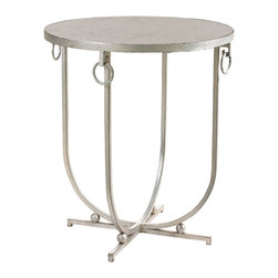 Kathy Kuo Home - Jacques French Hollywood Regency Silver Leaf Antique Mirror Side Table - This gracious and glamorous end table offers a warm welcome to your guests. Sparkling silver leaf covers this elegant side table, topped with a round, antiqued mirror. Lustrous, looping wrought iron creates four semi-circular supports atop a square base, while delicate, dangling circles add the finishing touch to the tabletop.