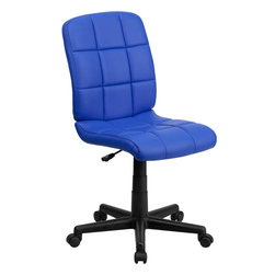 Flash Furniture - Mid-Back Blue Quilted Vinyl Task Chair - This contemporary designed computer chair will highlight a dull or attractive work space. Get away from the ordinary office chair with the attractive quilted, tufted upholstery.