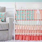 Caden Lane - Lovely Coral Lace Crib Bedding, 2pc Set - Vintage styled nurseries are so popular right now, so we created our teal and coral lovely lace baby bedding to help with your nursery design!