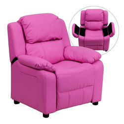Flash Furniture - Deluxe Padded Contemporary Hot Pink Vinyl Kids Recliner with Storage Arms - Kids will now be able to enjoy the comfort that adults experience with a comfortable recliner that was made just for them! This chair features a strong wood frame with soft foam and then enveloped in durable vinyl upholstery for your active child. Choose from an array of colors that will best suit your child's personality or bedroom. This petite sized recliner features storage arms so kids can store items away and retrieve at their convenience.