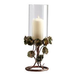 Cyan Design - Cyan Design 05324 Large Leigh Green Rose Candleholder - Features: