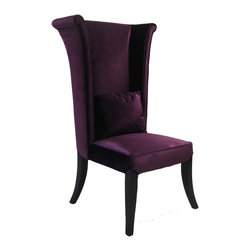 None - Purple Velvet High-back Chair - This chair is covered in beautiful velvet upholstery. The corner blocked frame adds durability and lasting beauty to this high-back chair.