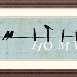 Amanti Art - Birds on a Wire Home Framed Print by Alain Pelletier - \'Home\' - Have you dcor declare what is really important to you with this charming play of clothes line silhouettes by artist Alain Pelletier.