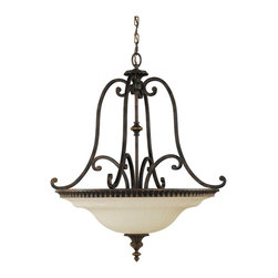 Drawing Room Collection- 4 Light Uplight Chandelier- Walnut - Item Weight: 21.5