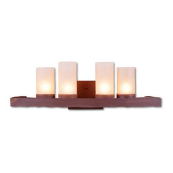 Avalanche-Ranch - Rustic Wisley Bath Vanity Light - Bath Vanity Lights - Triple with Rustic Plain artwork - Takes (4) 60W C-Type bulb(s)