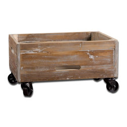 Rustic Weathered Rolling Box - *Weathered, reclaimed fir wood sanded and sealed with a light gray wash.