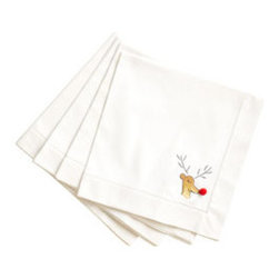 Red-Nosed Reindeer Napkins - Set of 4 - New - He saved Santa from the foggy skies and now he's going to save your next dinner party! This set of four cotton napkins has a hand-embroidered Rudolph, each with a different pose. Your guests will love the red pom-pom nose detail, so you might want to get a few set as gifts so they don't get jealous!