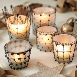 "Ballard Designs - Audrey Votives - Assorted Set of 5 - These delicately twisted wire votives would provide just the right amount of ""mood"" when you want to relax in the bath."