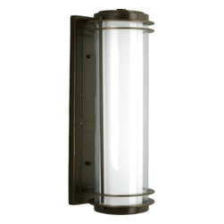 """Progress Lighting - Progress Lighting P5899-108 Penfield 2-Light Wall Mount in Oil Rubbed Bronze P58 - Two-light wall lantern with clear and opal glass.Bulb Type: Medium Collection: Penfield Energy Star Compliant: No Finish: Oil Rubbed Bronze Height: 24 Lamp Wattage: 75W max Number of Lights: 2 Shade: Clear And Opal Glass Socket 1 Base: Medium Socket 1 Max Wattage: 75 Style: Contemporary Type: Outdoor Wall Mount Weight: 15.4 Width: 8{General Outer clear glass cylinder: 3-7 8""""Dia. x 18-3 4"""" T x 1 8"""" thick Inner Opal Glass Cylinder: 5""""Dia. x 22-5 8"""" T x 1 8"""" thick Cylindrical styling Painted finish Die cast aluminum construction Matching post top, chain hung, and wall units available {Mounting Wall mounted Backplate covers a 4"""" recessed octagonal outlet box Backplate Dimensions: 5"""" W x 23-3 8"""" T x 1"""" D {Electrical Ceramic medium based sockets Pre-wired {Labeling cCSAus wet location listed"""