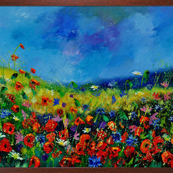 overstockArt.com - Ledent - Field Flowers 561190 Oil Painting - Field flowers 561190 is a canvas print of a colorful modern Ledent painting of a landscape. Originally oil on canvas stretched on a wooden frame 19,7 x 23,6 inches. Pol Ledent was born in 1952 in Belgium. He came to painting in 1989. He started with watercolor but felt rapidly that oil painting would match his way of being. He is a self-taught painter. Nevertheless he took some drawing lessons in a Belgian academy. After taking part into numerous group exhibitions, some galleries in Belgium proposed to him to exhibit his works. Dinant, Bouillon, Brussels , Paris and Moscow in October 2006.