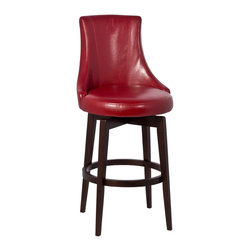 Hillsdale Furniture - Hillsdale Santa Anita Swivel Stool with Red Vinyl in Cappuccino - 26 Inch - Unique color and shape come together in the one of a kind Santa Anita Stool. Constructed of hardwood and wood composites with a contemporary curvilinear stool covered in either a bright red dark brown or avocado-hued vinyl the Santa Anita will be a stand-out in any location. The Santa Anita has a 360-degree swivel seat and is available in bar and counter heights. Some assembly required.