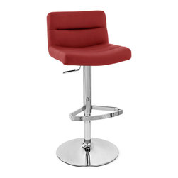 Zuri Furniture - Lattice Swivel Armless Bar Stool, Red - The Lattice bar stool is a contemporary masterpiece. The one piece seat is superbly well padded with high density foam for high levels of comfort and is covered in soft faux leather. The seat is wide and accommodating and has an incorporated medium height backrest for extra support, making it a very relaxing place to sit. The plush seat is segmented at regular intervals by stitched grooves, resulting in a stunning effect with immense visual impact, making it an eye-catching item of furniture that will always garner interest from visiting friends or guests. A hand crafted footrest, fashioned from tubular steel and plated in chrome sits on a chrome stem, enhancing the overall look of this bar stool and giving an ideal location to place your feet. The Lattice is perfect use around the home, in a kitchen bar or breakfast bar, the Lattice is as functional as it is stylish with an adjustable height gas lift and 360 degree swivel mechanism. A large circular base gives the Lattice bar Stool excellent stability and has a rubber ring beneath to protect your floor. The Lattice bar stool seat height adjusts from 22-32 and the back height adjusts from 30-40 Please Note: The Lush is a similar stool in a brushed steel finish with a higher back. Weight capacity of 275 lbs.