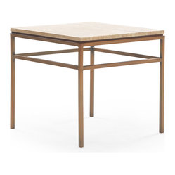 Mitchell Gold + Bob Williams - VanDyke Stone Top Side Table - Midcentury design meets nature in this sleek and sturdy little side table. Its all-natural travertine top rests snugly in a satin brass metal base for a stunning one-of-a-kind piece of furniture that's as timeless as it is pretty.