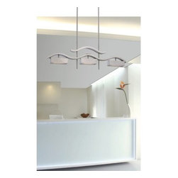 Nuvo Wave LED Island Pendant Light - 38W in. - A clean, modern look perfect for over your dining table, the Nuvo Wave LED Island Pendant Light - 38W in. is striking. Its undulating ribbon design creates a graceful, contemporary look. This ceiling-mounted pendant comes in two finish options and features a frosted glass shade that perfectly diffuses the three energy-efficient LED bulbs (included). About Satco Products, Inc.Founded in 1966, Satco is a well known, premier supplier of lighting products. This family owned and operated business is based in New York and has warehouse, distribution, and sales locations in New York, Miami, Dallas, San Francisco, Seattle, and San Juan, Puerto Rico. Satco introduced the Nuvo Lighting line in 2005 with energy efficiency as the cornerstone. This line offers more than 1,500 innovative and energy efficient lighting products designed for modern homes, businesses, and exteriors. In 2009 Satco won partner of the year from the ENERGY STAR Award.
