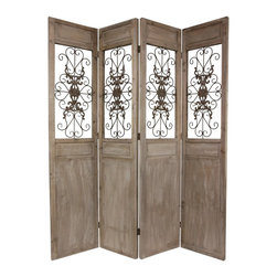 Oriental Furniture - 7 ft. Tall Railing Scrolls Room Divider - This large four panel floor screen was hand-crafted from beautiful reclaimed wood planks and fine scrollworked metal. At seven feet tall, it is an impressive decorative screen, ideal for dividing a large living space, creating a private nook, or redirecting foot traffic in a professional office or small business.