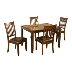 Alpine Furniture - Capitola 5-Pc Dinette Set - Includes table and four chairs. Faux marble table top. Six months warranty. Made from rubber wood solids with select veneer. Espresso finish. Made in Vietnam. Seat height: 19 in.. Chair: 20 in. W x 19.5 in. D x 39 in. H. Table: 48 in. L x 36 in. W x 30 in. H